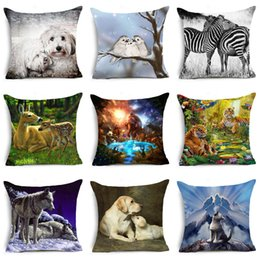 Wholesale Wolf Pillow Covers - Affection Polyester Cushion Cover Schnauzer Family Affection Labrador Wolf Home Decorative Pillows Cover for Sofa Cojines