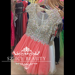 Wholesale Champagne Colored Short Prom Dresses - Stunning Colored Rhinestone 8th Grade Prom Homecoming Dresses With Sleeves Illusion Coral Skirt V Neck Major Beading Short Party Dress 2017