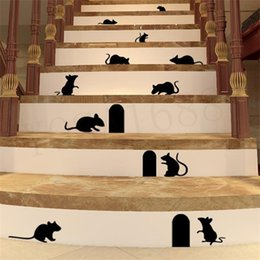 Wholesale Funny Stick Cartoons - 1pcs cute Funny 3d cartoon Mouse Holes home wall sticker wall decor Children room Decor 360 Vinyl Sticker Decal