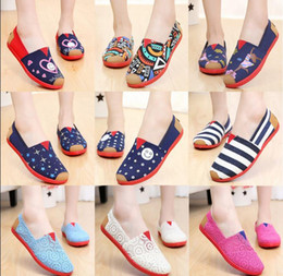 Wholesale Stripe Loafers - Us size 5-8.5 Dorp shipping Women's casual solid canvas shoes, EVA flat pattern stripes lovers Glitter shoes Classic canvas sho