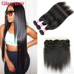 Wholesale 32 Inch Remy - Brazilian Lace Front Closure with Straight Virgin Hair Weave Bundles 13x4 Lace Frontal Closure Remy Human Hair Wefts with Closure Hottest