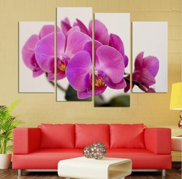 Wholesale Images Group Fashion - UnFramed 4 panels butterfly orchid flowers group painting canvas art home decor wall art oil painting HD image Free shipping