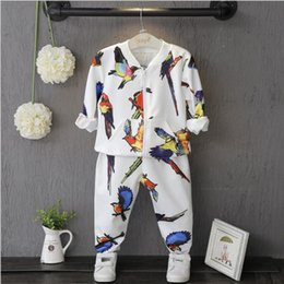 Wholesale Baby Boys Owl Clothes - New Autumn Cute Sweet Printed Bird Floral Baby clothing Owl set 2 pieces Top+Pant Trousers Girls Dress Boys Clothes Kids Children sets