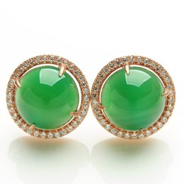 Boucles d'oreilles rondes en nacre de nacre, vert argent 925 incrusté de jade ? partir de fabricateur