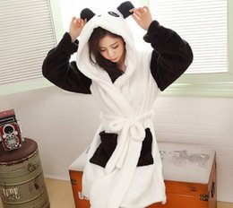 Wholesale Full Bathrooms - Wholesale- winter fall warm Women's Flannel Robes Bathroom Robe cosplay panda Bathrobe Pajama Thick Long Spa Robe Shower Homewear