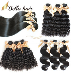 "Wholesale Hair Full Head Curly Weaves - Brazilian Hair Human Hair Extensions Full Head Bundles Virgin Hair Weaves 8A 8""-30"" Curly Body Wave Straight Bellahair Double Weft"
