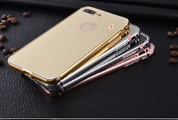 Wholesale Chrome Iphone Bumpers - Gold Plating Mirror Case For Iphone 7 Plus I7 Iphone7 Aluminum Slide Frame Bumper Luxury Electroplated Chrome Metallic Phone Cover 50pcs