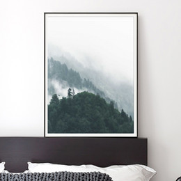 Wholesale Oil Painting Mountains Landscape - 2 pictures of minimalist Nordic home decoration distant mountain interior decals wall