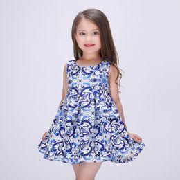 Wholesale China Blue Lace Dress Wholesale - 2016 Spring Summer China Blue Art Dresses Girls Princess Dress Satin Kids Tutu Dress Ball Dress 7pcs lot K6919