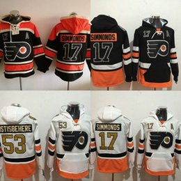 Wholesale Ivory Logo - #17 Wayne Simmonds Philadelphia Flyers Hockey Jersey Hoodies 100 Anniversary Patch Men's Stitched Embroidery Logos Sweatshirts Jerseys