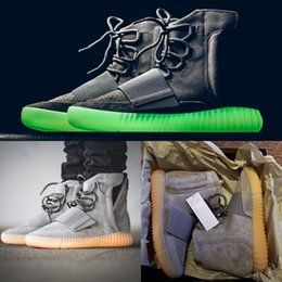 Wholesale Glowing Glitter Dark - 2016 New Kanye West 750 Boost Light Grey Glow in the dark 750 Glow Dark Women and Men Shoes Boots Ankle Boots size 36-46