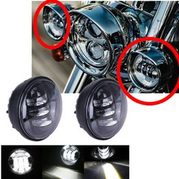 Wholesale Headlight Projector Lamp - 2pcs 4.5'' LED Motorcycle Fog Light Headlight Auxiliary Spot Driving Lamp Projector Waterproof For Harley Davidson Daymaker