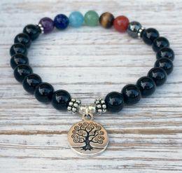 Wholesale Black Jewelry Designers - SN1038 Hot Sale US Jewelry Designer 7 Chakra Black Onyx Bracelet Tree Of Life Bracelet Free Shipping