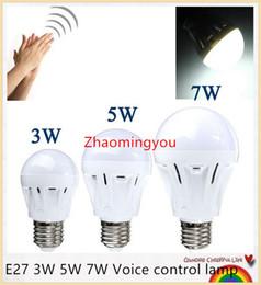 Wholesale Door Lighting 7w - E27 Motion Sensor Lamp Led Bulb Sound+Light Control Auto Smart Detection For Door Gate Stairs Lamp With The Motion Sensor light