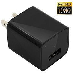 Wholesale Ac Adapter Camcorder - 32GB Spy Mini 1080P HD SPY DVR Hidden Camera US EU AC Plug Adapter Video Recorder Cam Home Security Camcorders