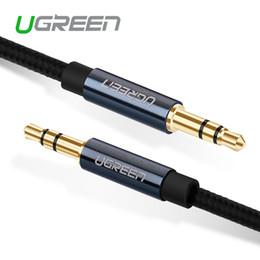 Оптовая продажа-Ugreen новый кабель Aux 3,5 мм до 3,5 мм разъем аудио кабель поток Bradied между мужчинами стерео вспомогательный шнур для телефона автомобильный динамик от Поставщики iphone led cable синий