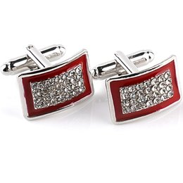 Wholesale Laser Crystals Wholesale - 2016 New Simple Style Crystal Rectangle Cufflinks Mens Shirt Cuff Button Christmas Gifts for Men Laser Plating Cuff Links Gemelos 6