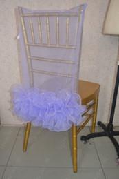 Wholesale Organza Chair Sashes Lavender - 2016 Custom Made Lavender Organza Ruffles Chair Covers Romantic Beautiful Chair Sashes Cheap Wedding Chair Decorations 021