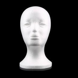 Wholesale Head Necklaces - Wholesale-Female Styrofoam Foam Mannequin Head Manikin Head Model Wig hair Glasses Hat Jewelry Display Free Shipping