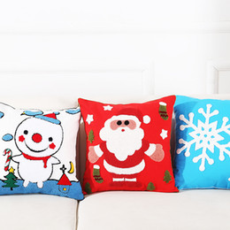 Stelle decorative per natale online-7Styles Christmas Festival Cushion Covers Pupazzo di neve Star Sofa Throw Pillow Case Santa Cuscini decorativi Covers 45X 45 Cm Gift Room