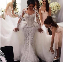 Wholesale Sheer Sparkle Wedding Dress - Mermaid Lace Wedding Gowns 2016 with Detachable Overskirt and Sheer Long Sleeves Sexy Sheer Neck and Sparkle beadeds