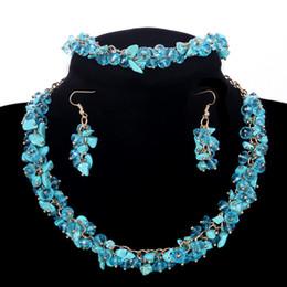 Wholesale Gold Blue Gem Earring - Bib Statement Sky Blue Gems Jewelry Set Choker Collar Beads Necklace Party Jewelry Accessories Bracelet Earrings Sets