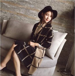 Wholesale Elegant Checks - Elegant Women Double sides Long Scarf Warm Cashmere like Plaid Shawl
