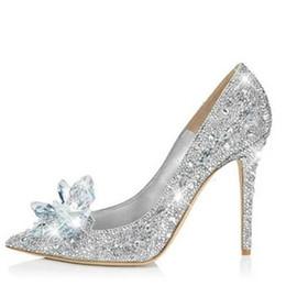 Wholesale Red Flower High Heels - New Fashion Sexy Women Silver Rhinestone Wedding Shoes Platform Pumps Red Bottom High Heels Crystal Shoes Silver