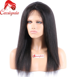 Wholesale Yaki Remy Hair Full Lace - Indian Remy Full Lace Human Hair Wigs Yaki Straight Glueless Virgin Hair Light Yaki Full Lace Wig Lace Front Wigs For Black Women