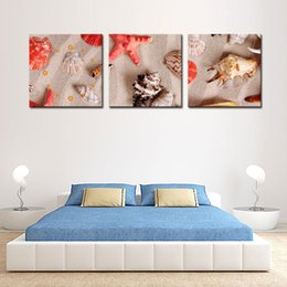 Wholesale Shell Oil Paintings Modern - 3 Pieces Modern Canvas Painting Wall Art the Picture for Home Concept Sandy Beach Shells Starfish Print on Canvas Giclee for Wall Decor