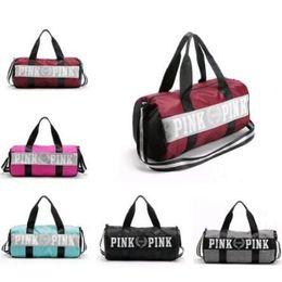 Wholesale Wholesale Single Luggage - 5 Colors Pink Letter Handbags Unisex Large Capacity Travel Striped Luggage Bags Waterproof Duffel Bags Secret Shoulder Bags CCA7227 60pcs
