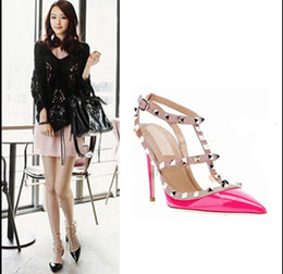 Wholesale Stiletto Heels America - Europe and America Women High heels shoes Ladies Sexy Pointed Toe High Heels Fashion Buckle Studded Stiletto High Heel Sandals Shoes pumps