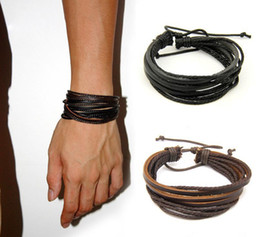 Wholesale Cheap Fashion Wood Jewelry - High quality Mens and Women Bracelets Wrap Multilayer Genuine Leather Bracelet with Braided Rope Fashion Jewelry Cheap