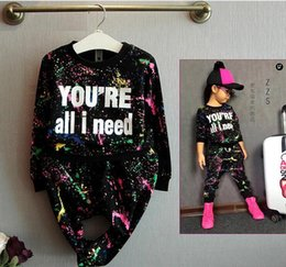 Wholesale Girls Fashion Coat Suit - new fashion girls tracksuit baby kids sport clothes set coloful letter printed children suit clothing set for 2-7years old