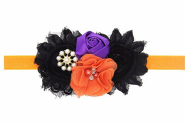 Wholesale Shabby Chic Flowers For Babies - Crown headband fall headbad Halloween headbands Shabby chic flower head band for baby toddler Photo Prop 1pc HB613