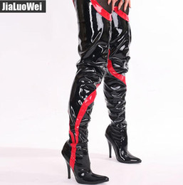 Wholesale Long White Sexy Boots - Free Shipping Women Sexy Fashion Patent Leather Thin Heel 12cm High-heeled stiletto thigh boot Ladies Martin Over-the-knee unisex long boots