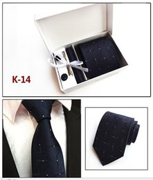 Wholesale 18 Cufflinks - Classic Men Neck Tie Set (Tie+Tie Clips+Cufflinks+Hanky+Box) High Quality Paisley Necktie Man Formal Silk Tie Suit Business Tie-18