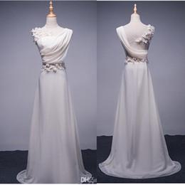 Wholesale Long Abendkleider - Abendkleider Long Evening Dress 2017 Bride Princess Banquet Lace Chiffon Prom Greek Goddess Elegant Style Applique Backless Plus Size Formal