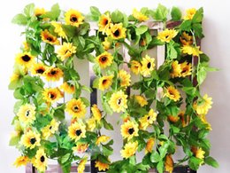 Wholesale Wholesale Silk Flower Leaves - 250cm Fake Silk Sunflower Ivy Vine Artificial Flowers Plants With Green Leaves Hanging Garland Garden Fences Home Wedding Decoration