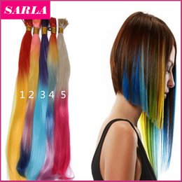 Wholesale Grizzly Straight - Wholesale-1000Pcs Lot Ombre I Tip Hair Extensions 2 Tones 18Inch Grizzly Snythetic Loop Feather Hair Extension Hairpieces Free shipping