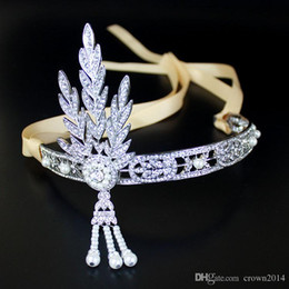 Wholesale Diamond Wedding Headpieces - Bling Crystals Wedding Crowns 2017 Diamond Jewelry Headband Hair Crown Bridal Accessories Party Tiaras Headpieces the great gatsby