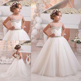 Wholesale toddler dresses for cheap - 2017 Cute Jewel Neck Beads Flower Girls Dresses For Weddings Cap Sleeves Toddler Pricness Pearls Cheap Little Girls Dresses