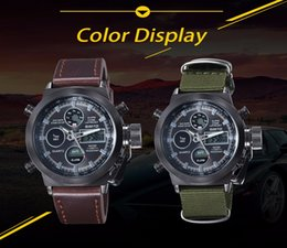 Wholesale Digital Reloj Led - 2017 Hot GIMTO Quartz Digital Sports Watches Men Leather Nylon LED Military Army Waterproof Diving Wristwatch Reloj Hombre