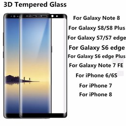 Wholesale Galaxy X Cover - For Galaxy Note 8 S8 iPhone X 8 Plus S7 Edge 0.2MM 3D Full Screen Tempered Glass Full Cover Curved Screen Protector