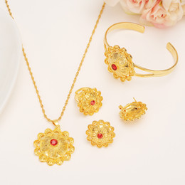 Wholesale Color Stone Earrings - Gold Color Ethiopian Jewelry Sets Red Stone Ethiopian Habesha Bride Wedding Eritrea Chain African Jewelry Set