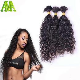 Wholesale Wavy Bulk Hair - Wholesale-8A Grade Water Wave Bulk Hair Unprocessed Human Braiding Hair Bulk Wavy Brazilian Human Hair For Braiding Bulk No Attachment