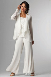 Wholesale Ladies Jackets Dresses - Elegant Chiffon Lady Pants Suits Mother of The Bride Groom With Jacket Plus Size Women Party Dresses Trouser Suit
