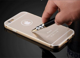Wholesale Metal Shock Cases - For iphone 6 plus Luxury Glitter Business Ultra-thin Light Weight Aluminum Shock-Proof Metal Frame Acrylic Back Case 5.5 Inch for apple 6