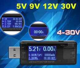 Wholesale Usb Current Meter - USB 4V-30V QC 2.0 3.0 LCD Charger Capacity Tester USB Doctor Power Meter Ammeter Voltmeter Current Voltage Time off