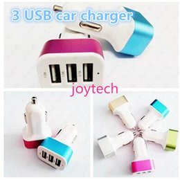 cell phone car adapter Promo Codes - Colorful charger Universa 3 ports USB car charger travel adapter car plug for I6 6s 6plus samsung galaxy s6 cell phone